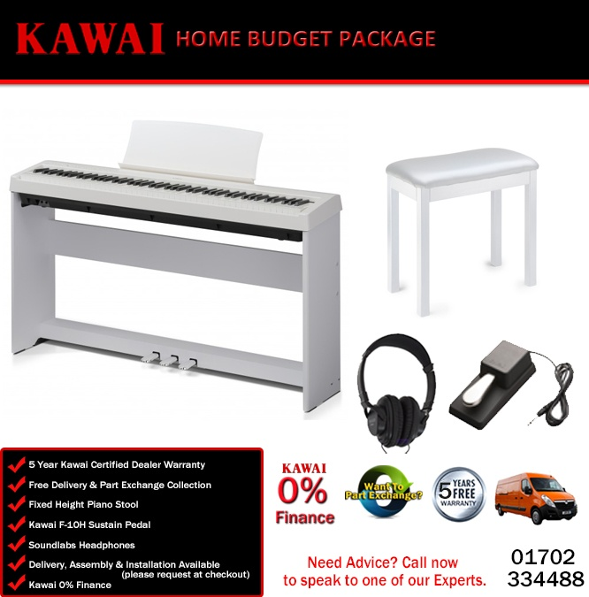 kawai es110 white digital piano home budget package. Black Bedroom Furniture Sets. Home Design Ideas