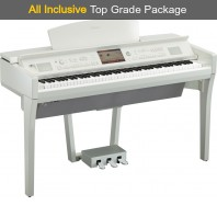 Used Yamaha CVP709 Polished White Digital Piano Complete Package