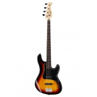 Cort GB34JJ 3 Tone SunBurst 4 String Double Cutaway Bass Guitar