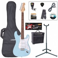 Encore E6 Series Laguna Blue Electric Guitar Pack EBP-E6LB