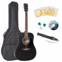 Encore Dreadnought Black Acoustic Guitar Pack EWP-100BK