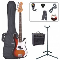 Encore E20 7/8 Size Sunburst Bass Guitar Pack EBP-E20SB