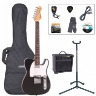 Encore E2 Series Gloss Black Electric Guitar Pack EBP-E2BLK