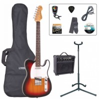Encore E2 Series Sunburst Electric Guitar Pack EBP-E2SB