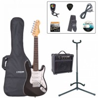 Encore Gloss Black 3/4 Size Electric Guitar Pack EBP-E375BLK