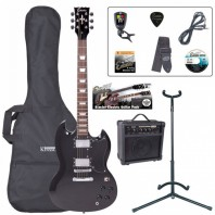 Encore E69 Gloss Black Electric Guitar Pack EBP-E69BLK