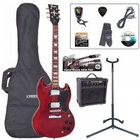 Encore E69 Cherry Red Electric Guitar Pack EBP-E69CR