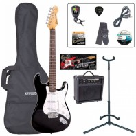 Encore E6 Series Gloss Black Electric Guitar Pack EBP-E6BLK