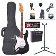 Encore E6 Series Black Gloss Left Handed Electric Guitar Pack EBP-LHE6BLK