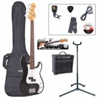 Encore E4 Series Black Bass Guitar Pack EBP-E4BLK