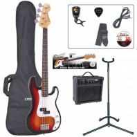 Encore E4 Series Sunburst Bass Guitar Pack EBP-E4SB