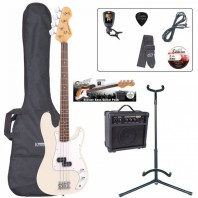 Encore E4 Series Vintage White Bass Guitar Pack EBP-E4VW