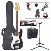 Encore E4 Series Black Left handed Bass Guitar Pack EBP-LHE4BLK
