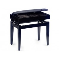 Stagg Matt Black Velvet Top Adjustable Height Piano Stool with Storage