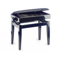 Stagg High Gloss Black Velvet Top Adjustable Height Piano Stool with Storage