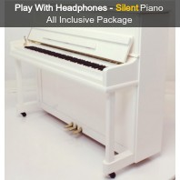 Steinhoven SU 112 Polished White Upright Piano with FreeKey Silent System All Inclusive Package