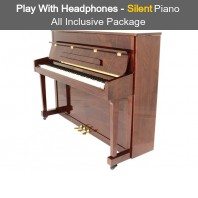 Steinhoven SU 113 Polished Walnut Upright Piano with FreeKey Silent System All Inclusive Package