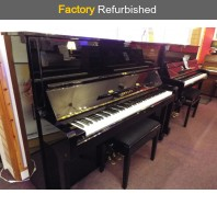Factory Refurbished Yamaha U1H Polished Ebony Upright Piano All Inclusive Package