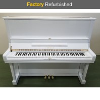 Factory Refurbished Yamaha U3H Polished White Upright Piano All Inclusive Package