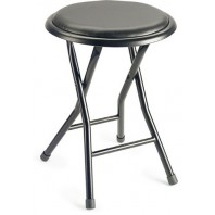 Multi Purpose Fold Up Round Black Stool