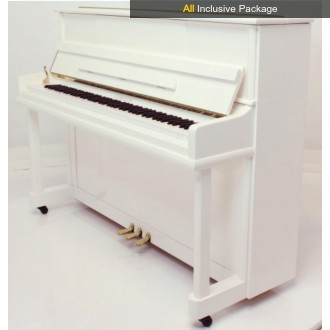 Steinhoven SU 113 Polished White Upright Piano All Inclusive Package
