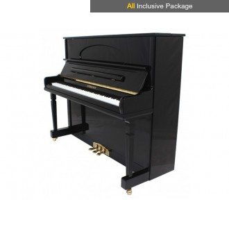 Steinhoven SU128 Polished Ebony Upright Piano All Inclusive Package