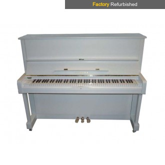 Factory Refurbished Yamaha U1H Polished White Upright Piano All Inclusive Package