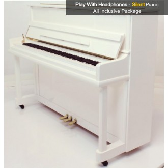 Steinhoven SU 113 Polished White Upright Piano with FreeKey Silent System All Inclusive Package