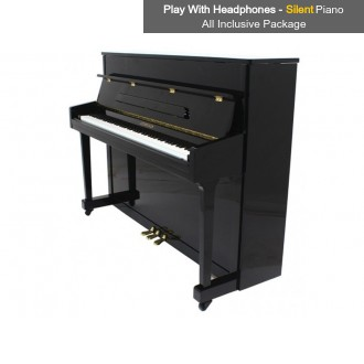 Steinhoven SU 113 Polished Ebony Upright Piano with FreeKey Silent System All Inclusive Package