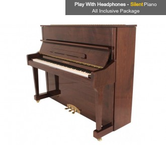 Steinhoven SU 121 Polished Mahogany Upright Piano with FreeKey Silent System All Inclusive Package